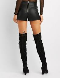 charlotte russe whipstitched faux leather shorts womens 86743 39822 black