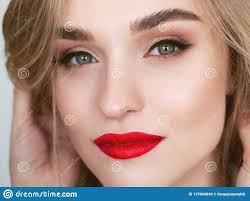 Dark Eyes Light Lips Makeup Closeup Natural Light Beauty Portrait Of Blonde Woman Model