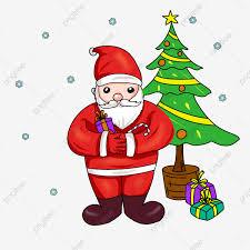 ซานตาคลอส ต้นคริสต์มาส ภาพประกอบ การ์ตูนชายชรา, ของขวัญวันคริสต์มาส,  ซานต้าคริสมาสต์, สุขสันต์วันคริสต์มาสภาพ PNG และ PSD สำหรับดาวน์โหลดฟรี