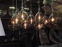 industrial recycled glass bottle lighting