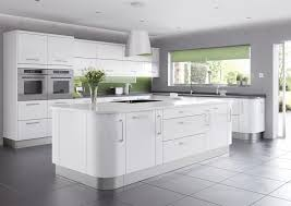 kitchen designs pictures 2014. shiny modern kitchen design 2014 with white gloss island plus drawer and door on grey ceramic tile also high cabinet for double microwave near designs pictures i