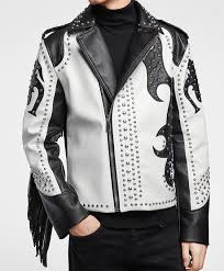 handmade black and white leather silver studded leather jacket