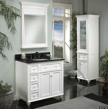 White Wooden Bathroom Accessories White Lacquered Wooden Framed Wall Mirror White Woven Waste Bin