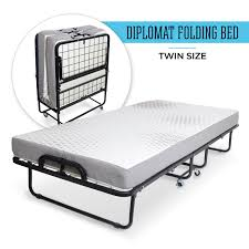 diplomat folding bed with memory foam mattress and wire lattice frame twin 75 x 38