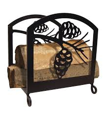 pine cone fireplace log rack for simple log holder for inside fireplace