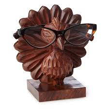 perry the carved peacock eyeglasses holder