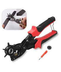 new 6 sized revolving leather hole hollow punch hand pliers belt holes punches