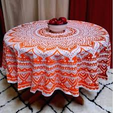 handmade table cloth cotton tie dye fl tablecloth inch round orange brown tablecloths crochet
