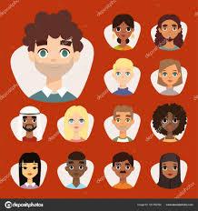 顔の特徴の異なる国籍の服と髪型人文字ベクトル イラスト多様なラウンド