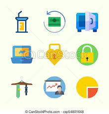 Icons About Digital Marketing With Pie Chart Money Padlock Tie Safebox And Laptop