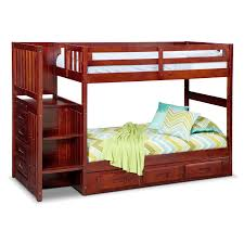 ranger twin over twin bunk bed with storage stairs underbed drawers merlot