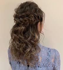 結婚式お呼ばれヘアスタイルにおすすめ編み込みハーフアップ 美容