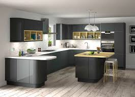 Kitchen With Dark Floors Stunning Grey Gloss Kitchen Ideas With Black Appliances And Dark