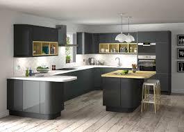 Black Gloss Kitchen Stunning Grey Gloss Kitchen Ideas With Black Appliances And Dark
