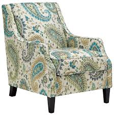 Paisley Sofa transitional accent chair in paisley fabric with reversible seat 8138 by uwakikaiketsu.us