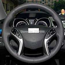 hyundai elantra 2016 black. hand sewing black genuine leather steering wheel cover for 2011 2012 2013 2014 2015 hyundai elantra 2016