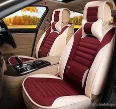auto car seat cover full sets universal fit 5 seat suv sedans front back seat mats automotive linen buckwheat shell health fabric car seat padding foam car