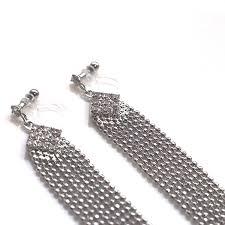 clip on chandelier earrings rhinestone invisible clip on earrings dangle bridal crystal silver chain clip earrings