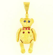 9carat yellow gold simulated gemstone movable solid teddy