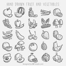 スケッチ果物と野菜のコレクション ベクター画像 無料ダウンロード