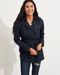 women s hollister belted trench coat jacket navy india 490mqbew