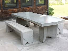 concrete dining table and bench gardenista round concrete top coffee table