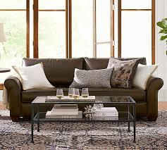 pb comfort roll arm leather sofa