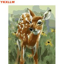 hand painted deer painting by numbers paint kits oil painting number pictures on canvas for living