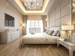 bedroom modern luxury. 3d Rendering Modern Luxury Classic Bedroom With Marble Decor Stock Photo - 94916047 L