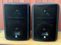 pair of mackie rcf monitor 8 speakers with wall mounts 8 ohm