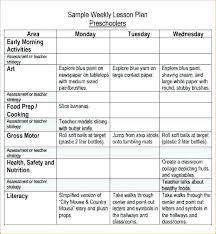 Nursery Weekly Lesson Plan For Preschool Sample Template 8 Free Word ...