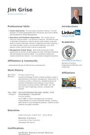 Housekeeper Resume Samples Visualcv Resume Samples Database