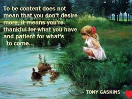 to be content does not mean