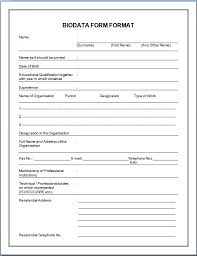Sample Biodata Sample Biodata Form For Students Under Fontanacountryinn Com