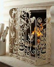 Art deco fireplace screen Stained Glass New Neimanmarcus Shabby Floral Chic Scrol Antique White Fireplace Screen Horchow Ebay Antique Fireplace Screen Ebay