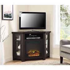 corner tv stand with wood tv fireplace for tvs up to 52 multiple decorations 6