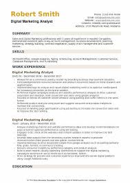 Digital Marketing Analyst Resume Samples Qwikresume