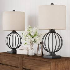 Shop Table Lamps Set Of 2 Wrought Iron Open Cage Orb Lights Bulbs