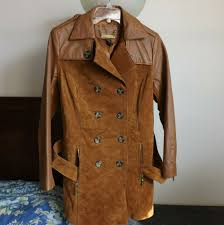 details about iman women leather jacket brown suede size s