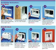 tv box recessed 3 gang power low voltage electrical box installation instructions