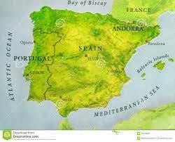 Mappa Geografica Di Paese Europeo Portogallo E Spagna Con Le Città  Importanti Immagine Stock - Immagine di europeo, chiusura: 95559567