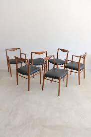 rare set of 6 danish teak dining chairs by kai lyngfeldt ln for soren willadsen 4 armless and 2 armchairs