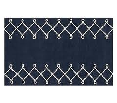 pottery barn kids lucas rug navy 3 x 5 100 wool new hand tufted