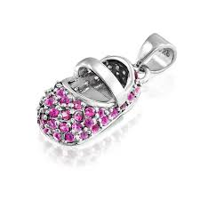 bling jewelry sterling silver birthstone color cz baby shoe charm pendant