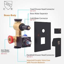 Sr Sunrise Regenduschsystem In Schwarz Matt Hochmoderne Air Injection Technologie 10 Quadratischer Regenduschkopf Einfache Installation
