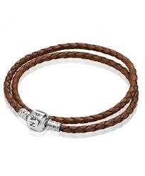 pandora double brown leather bracelet 21535cz