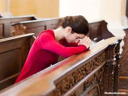 Image result for woman praying rosary in church