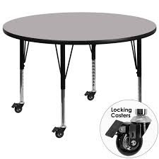 mobile 42 round activity table with grey thermal fused laminate top and height adjule preschool legs