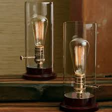 loft antique copper cap and clear glass shade table lamp 10283