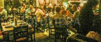 busy restaurant scene. Busy Restaurant Activity. (A Grainy, Mood Shot Of A Scene. Scene
